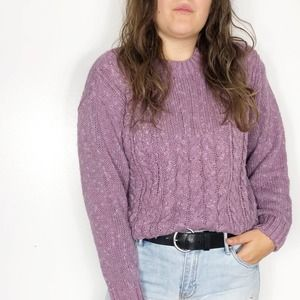 VINTAGE | Lavender Chunky Cable Knit Sweater